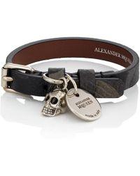 Alexander McQueen - Camouflage Leather Wrap Bracelet - Lyst