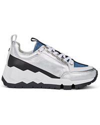 Pierre Hardy - Metallic Leather & Denim Sneakers - Lyst