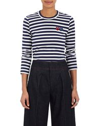 COMME DES GARÇONS PLAY - Heart Striped Cotton T-shirt - Lyst