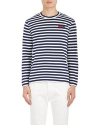 Play Comme des Garçons - Heart-patch Striped Cotton T - Lyst