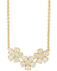 Jennifer Meyer - Diamond Three-flower Pendant Necklace - Lyst