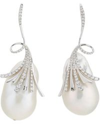 Samira 13 - Baroque Pearl & White Diamond Drop Earrings - Lyst