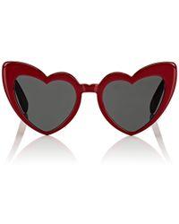 Saint Laurent - Loulou Heart Shape Sunglasses Shiny Red/grey - Lyst