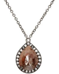 Zoe - Opaque Brown Diamond Pendant Necklace - Lyst