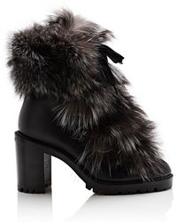 Christian Louboutin - Fanny Leather & Fur Ankle Boots - Lyst