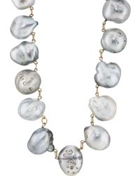 Samira 13 - Keshi Pearl & White Diamond Necklace - Lyst