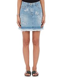 Valentino - Butterfly-embroidered Denim Miniskirt - Lyst