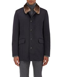 Gimo's - Fur-collar Shearling-lined Cashmere Coat - Lyst