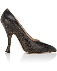 CoSTUME NATIONAL - Donna Crackled Leather Court Shoes - Lyst