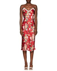 Barneys New York - Lace-trimmed Floral Satin Slipdress - Lyst