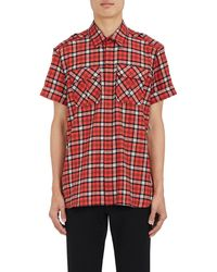 Neil Barrett - pierced Plaid Cotton Shirt - Lyst