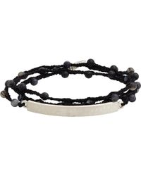 Feathered Soul - Agate Bead & Silk Bracelet With Hammered Silver Id Plate - Lyst