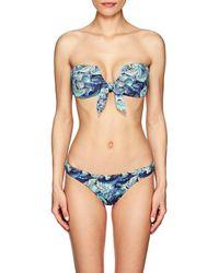 OndadeMar - Nightshadow Palm-leaf-print Bandeau Bikini Top - Lyst
