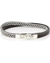 Caputo & Co. - Silver Chain & Leather Double - Lyst