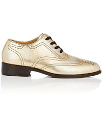 Esquivel - Distressed Metallic Leather Wingtip Oxfords - Lyst