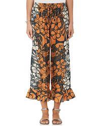 Warm - Rain Floral Silk Crop Trousers - Lyst