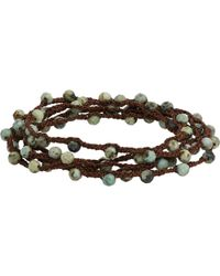 Feathered Soul - Moss Turquoise Bead & Braided Silk Wrap Bracelet - Lyst