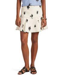 05065f907d 10 Crosby Derek Lam - Abstract-floral Basket-weave Tweed Flared Skirt - Lyst
