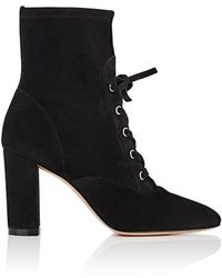 Gianvito Rossi Suede Lace-up Ankle Boots - Black