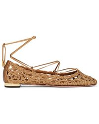 Aquazzura - Kya Embroidered Ankle-tie Flats - Lyst