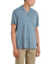 Onia Vacation Striped Cotton-blend Camp-collar Shirt - Blue