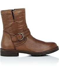 Barneys New York - Washed Leather Moto Boots - Lyst