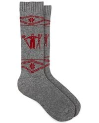 Barneys New York Skiier-&-snowflake Cashmere-blend Mid-calf Socks - Gray