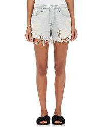 NSF - Lolita Striped Distressed Denim Shorts - Lyst