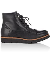 Barneys New York - Leather Wingtip Ankle Boots - Lyst