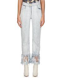 Balmain - Fringed Crop Straight Jeans - Lyst