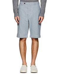 Officine Generale - Striped Cotton Canvas Cuffed Shorts - Lyst
