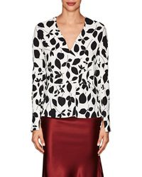 Narciso Rodriguez - Floral Stretch-silk Crepe Blouse - Lyst
