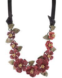 Valentino - Crystal-embellished Flower Necklace - Lyst
