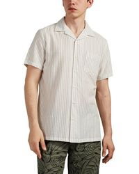Onia Vacation Striped Seersucker Camp-collar Shirt - White