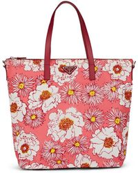 Prada Leather-trimmed Floral Tote Bag - Pink