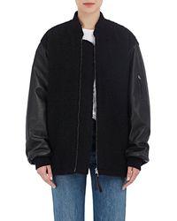 T By Alexander Wang - Bouclé & Leather Oversized Bomber Jacket - Lyst