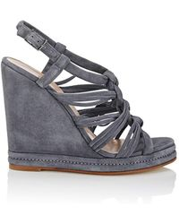 Barneys New York - Knotted-strap Suede Platform-wedge Sandals - Lyst