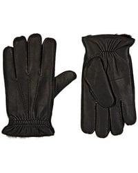 Barneys New York - Fur-lined Deerskin Gloves - Lyst