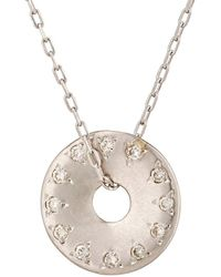 Hirotaka | White Diamond Disc Pendant Necklace | Lyst