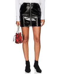 L'Agence - Claudia Patent Leather Zip-front Miniskirt - Lyst