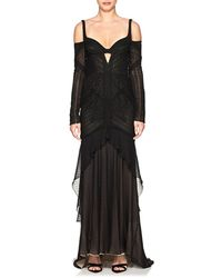 J. Mendel - Ruched Silk Lace High-low Gown - Lyst