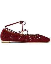 Aquazzura - Kya Embroidered Ankle-tie Flats - Lyst