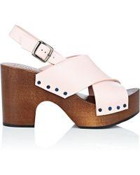 Barneys New York - Crisscross-strap Leather Clog Sandals - Lyst