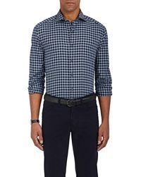 Barneys New York - Plaid Cotton Shirt - Lyst