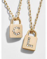 BaubleBar - Lock Initial Pendant Necklace - Lyst