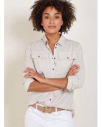6764fbcea Lyst - Ann Taylor Petite Shimmer Safari Button Down Shirt in Natural
