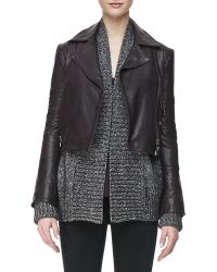 J Brand Aiah Leather Zipfront Jacket Kona - Lyst