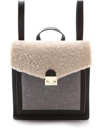 Loeffler Randall - Shearling Lock Backpack  Natural Black Grey - Lyst