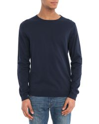 Selected Navy Two-Tone Patch Round-Neck Sweater - Lyst