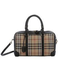 Burberry - Black Leather And Honey Horseferry Check Medium 'alchester' Convertible Bowling Bag - Lyst